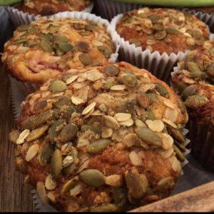 Nut and fruit muffins fresh baked and ready at Gossett Farmers Market Gossett Brothers Nursery, South Salem, NY